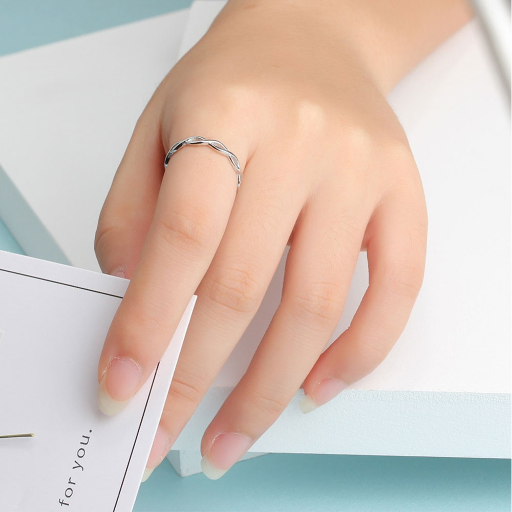 UMODE 2019 New 925 Sterling Silver White Braided Rings for Women Fashion Polished Ring White Gold Double Twisted Jewelry ALR0468 in Rings from Jewelry Accessories