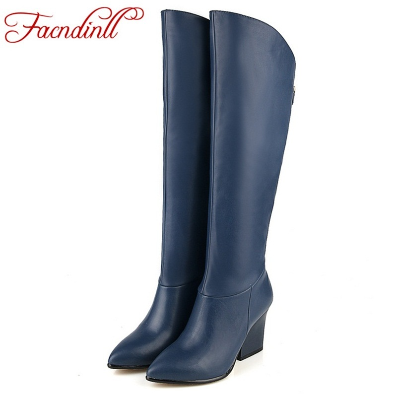 FACNDINLL Women's winter shoes genuine leather+PU autumn winter boots brand women black blue shoes high quality knee high boots de la chance winter women boots high quality female genuine leather boots work