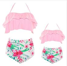 ruffle swimwear mother daughter swimsuits family look mommy and me matching outfits mom highwaist bikini dress clothes