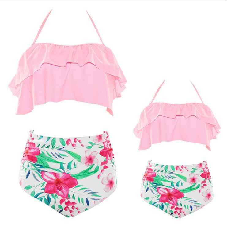 ruffle swimwear mother daughter swimsuits family look mommy and me matching outfits mom daughter highwaist bikini dress clothes