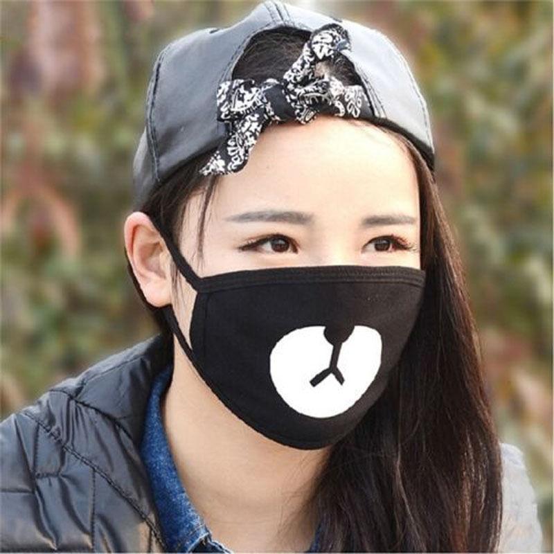 Women's Accessories 2018 Cute Lovely Women Mens Cartoon Bear Mask Black Cycling Anti-dust Cotton Cute Bear Mouth Face Mask Elegant Appearance Apparel Accessories