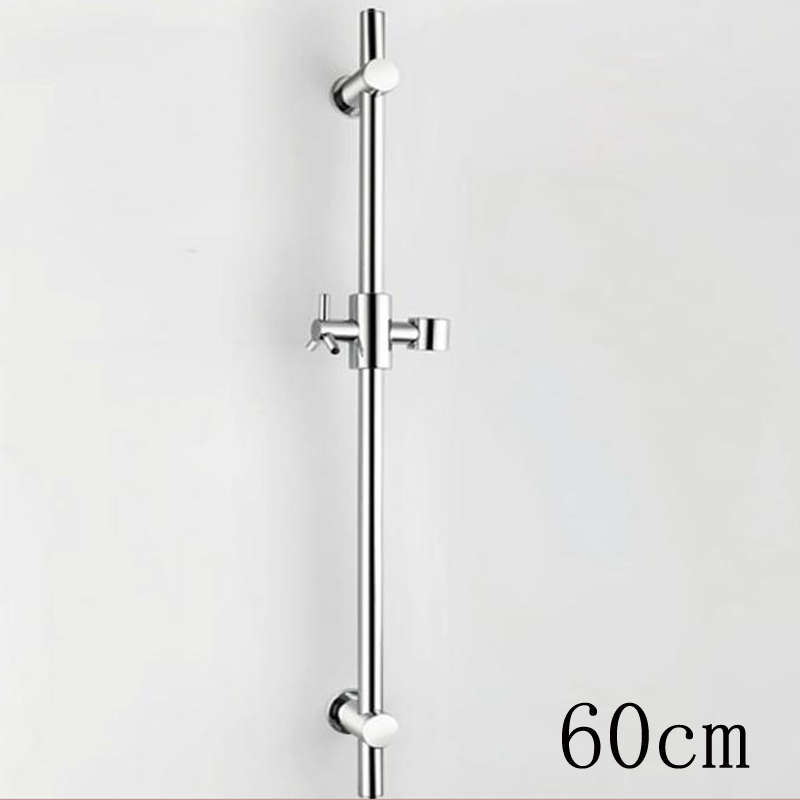 Chrome Finish 60cm Brass Rod Shower Sliding Bar Wall Mounted Shower Head Lifting Pipes with Handheld