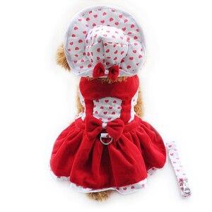 Armi store Heart Shape Dog Dresses Fashion Dogs Princess Dress 6071080 Pet Clothing Supplies ( Dress+Hat+Panties Leash = 1 set