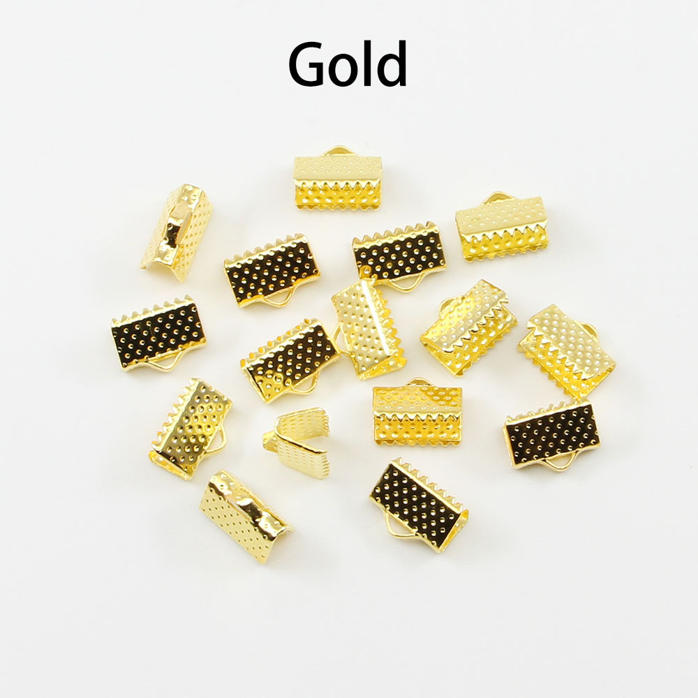 50pcs Cord Crimp End Beads Buckle Tips Clasp cord flat cover clasps For Jewelry Making Findings Diy Necklace Bracelet Connectors