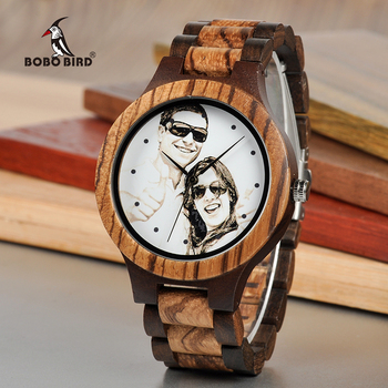 BOBO BIRD Personal Photo Print Customized Wood Watch with Gift Box