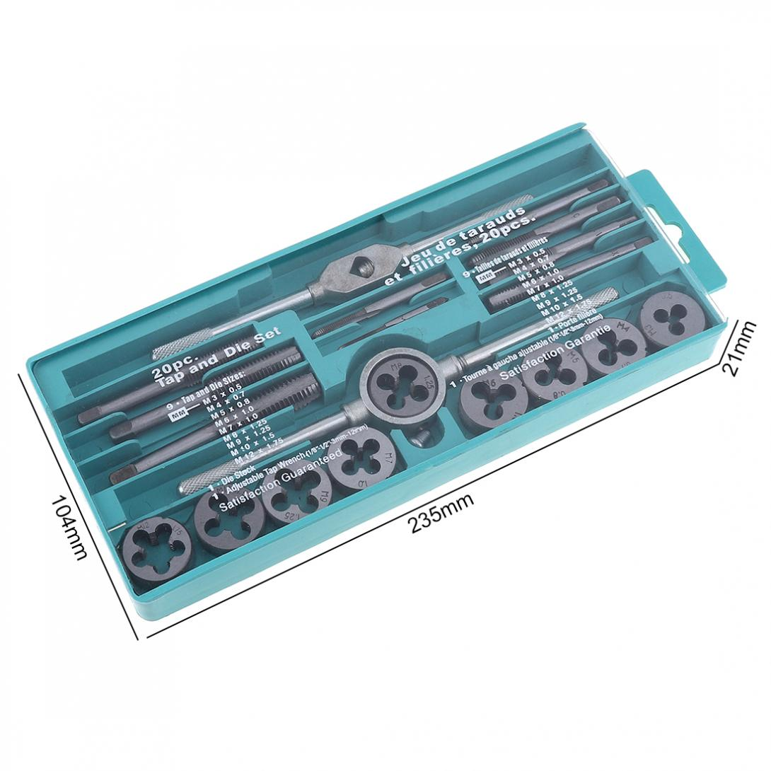 Image 2 - 20PCS Alloy Steel Tap & Die Set with Small Tap Twisted Hand Tools and 1/16 1/2 Inch NC Screw Thread Plugs Taps Hand Screw Taps-in Tap & Die from Tools