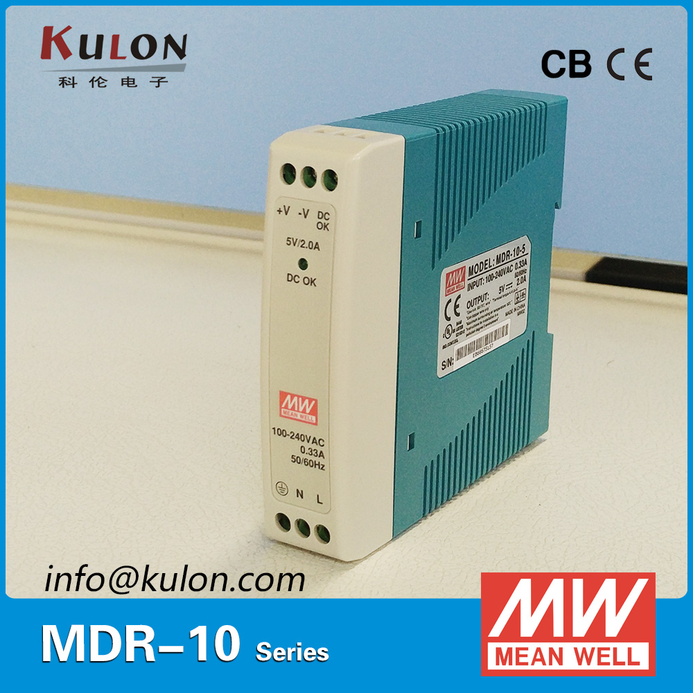 Original Meanwell MDR-10-5 10W 2A 5V Industrial DIN Rail Mean well Power Supply MDR-10 with DC OK active signal mdr 10 5 din rail switching power supply mini size 10w 2a 5v ac dc power supply with ce