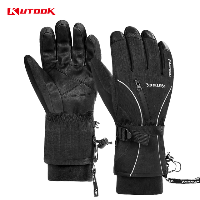KUTOOK Thermal Waterproof Ski Gloves Warm Snowboard Gloves Winter Snowmobile Touch Screen Motorcycle Mittens Snow Heated Gloves
