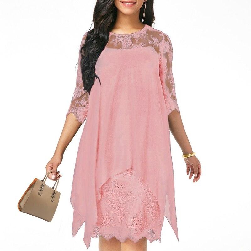 XS-5XL Solid Color Three Quarter Sleeve Lace Dress Round Neck Women Elegant Overlay Chiffon Plus Size2019 New Fashion