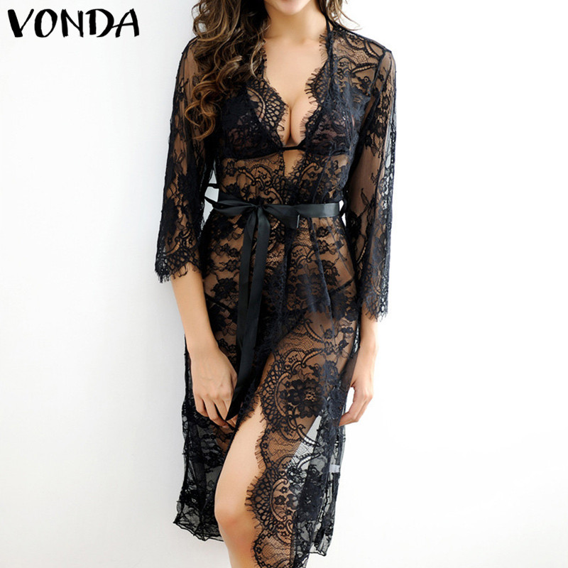VONDA Pregnant Women Sexy Lace Mini Dress 2018 Casual Loose 3/4 Sleeve Solid Cadigan Plus Size Pregnancy Knee-length Vestidos