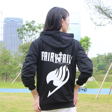 Anime Fairy Tail Zipper hoodie with Hat Autumn Winter Sweatshirt Cotton