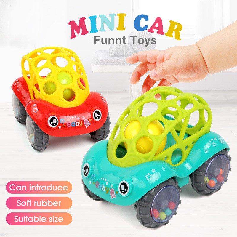 Funny Cartoon Rattles Car Toys Baby Educational Develop Plastic Colorful Jingle Shaking Hand Bells Toddlers Juguetes NBB0223