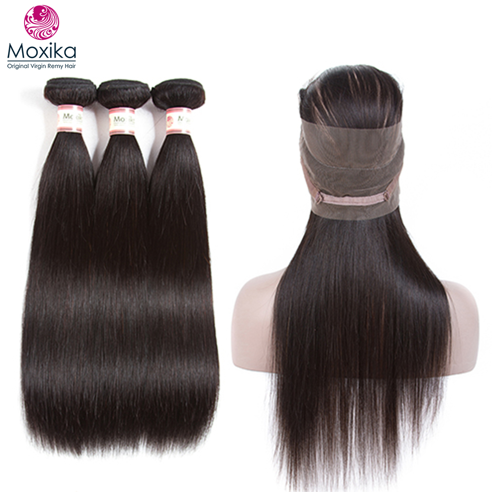 Moxika Peruvian Straight Hair 360 Lace Frontal Closure With Bundles Human Hair 3 Bundles With Closure Frontal Remy 4pcs Full