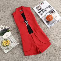 Kadın Üç Parça Suit Mektuplar Baskılı Yelek Uzun Ceket OL Ceket Takım Elbise Şort Giyim Seti Yaz Lady Giyim Tasarım kısa Rahat