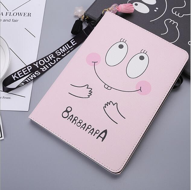 Cute cartoon case for Ipad air 1/ air 2, PU leather flip smart cover for Ipad 5/6 A1566 stand protector skin, Black pink color case cover for apple ipad air 2 ipad 6 cartoon big mounth bear pu leather flip smart stand case for ipad a1566 a1567 protector