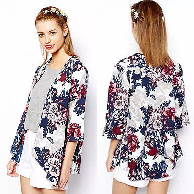 Chiffon Blouse Women Printed Kimono Cardigan 2017 Fringed Hem Lace Shawl Oversized Tops Outwear blusas femininas