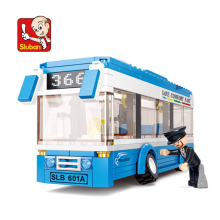 City Bus Building Blocks Sets Compatible  Creator Model Blue Car Bricks Figures Educational Toys for Children