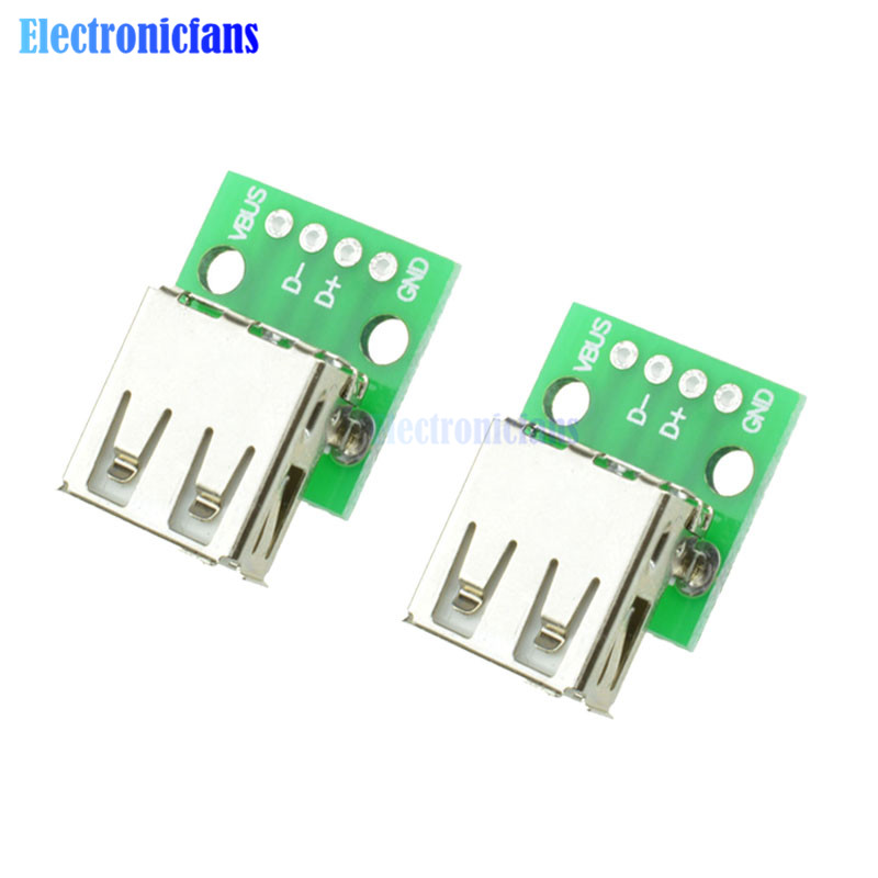 Pcs type a female usb to dip mm pcb board adapter