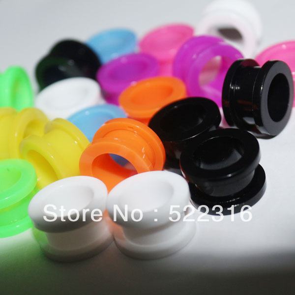 Free shipping wholesale mix 8 color 6 size uv acrylic body jewelry piercing screw fit ear plug gauges