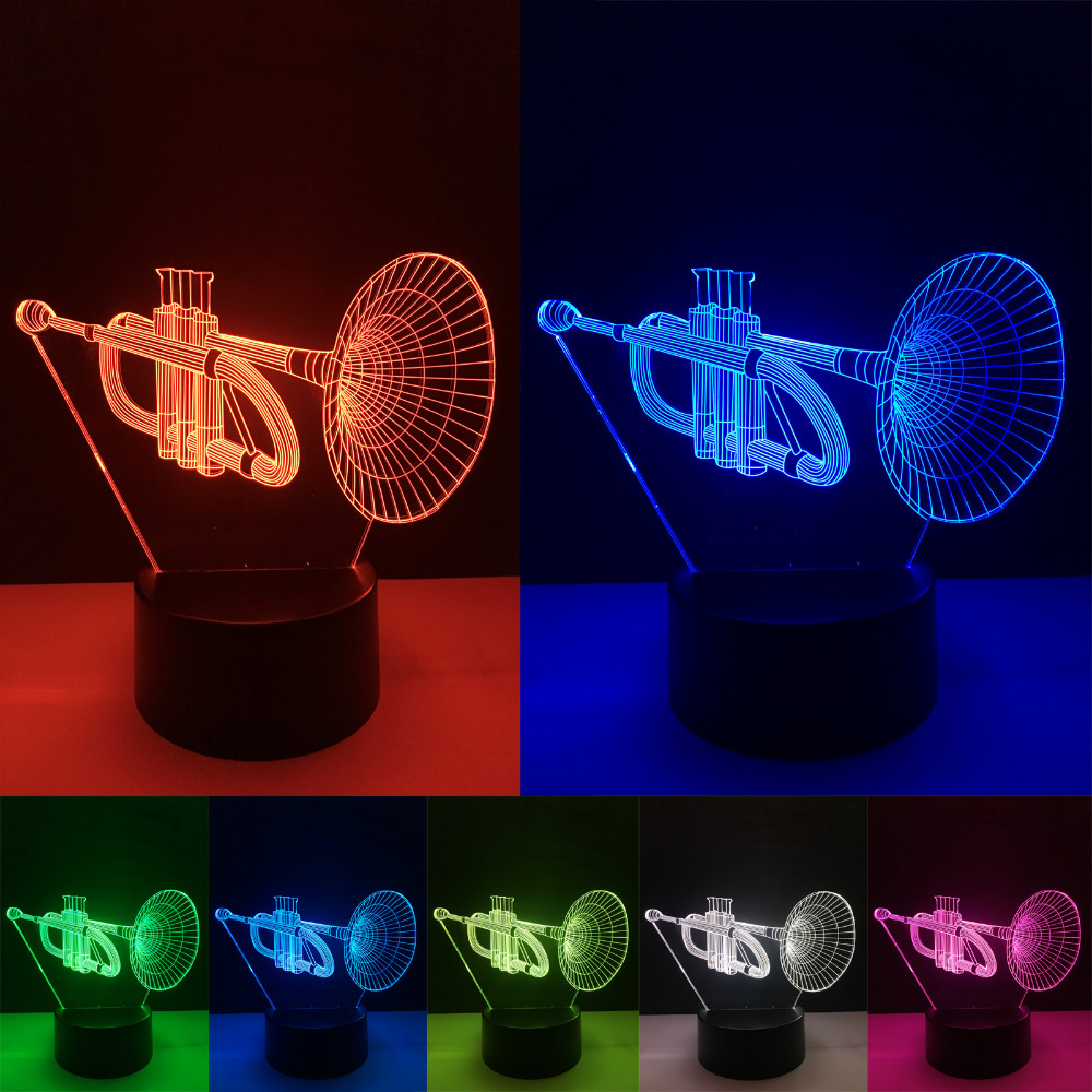Luminaria New 3D Instrument Horn 7 Color Gradient Lamp Visual Led Night Lights Lampara Baby Sleeping Child Xmas Festival Gifts nba star 7 color lamp 3d visual led
