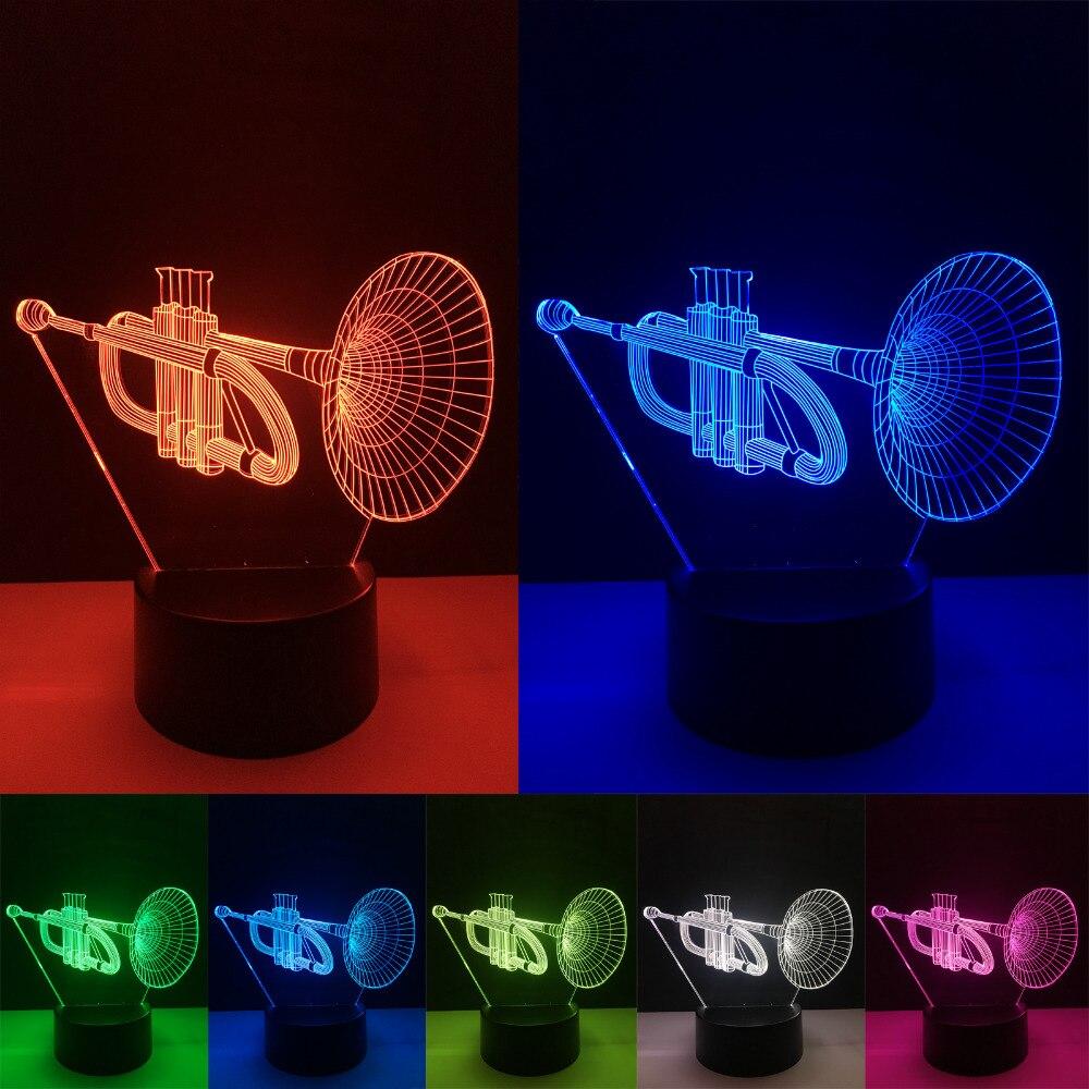 Luminaria New 3D Instrument Horn 7 Color Gradient Lamp Visual Led Night Lights Lampara Baby Sleeping Child Xmas Festival Gifts