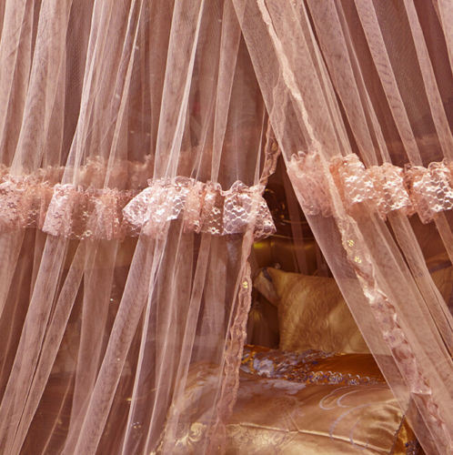 Light Pink Luxury Decorative Dome Bedding Netting Canopy All Sizes - 4