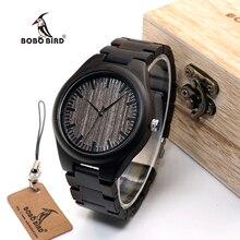 BOBO BIRD WO08 Brand Designer Wood Watch Ebony Wooden Quartz Watches for Men Watch in Wooden Box