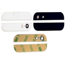 5Sets /10PCS For iPhone 5 5G New Replacement Top & Bottom Glass Back Cover + Camera Lens + Flash Lens + 3M Adhesive Sticker