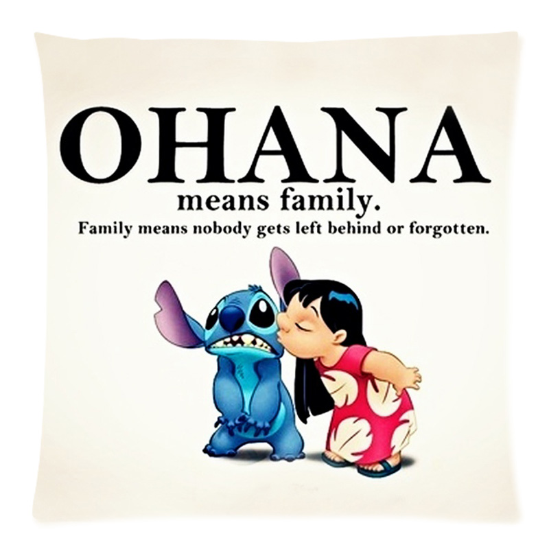 Custom Cushion Cover Lilostitch Ohana Quote Cotton Linen Pillow