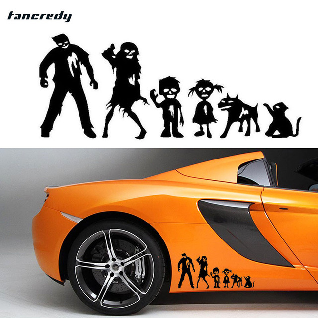Funny working dead family stickers car door window stickers 198 8cm car decoration stickers