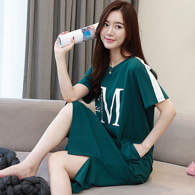 Summer Cotton Night Dress Women O-neck Cartoon Letter Print Short Sleepwear   Nightgowns   Nightwear Nightdress   Nightgown     Sleepshirt