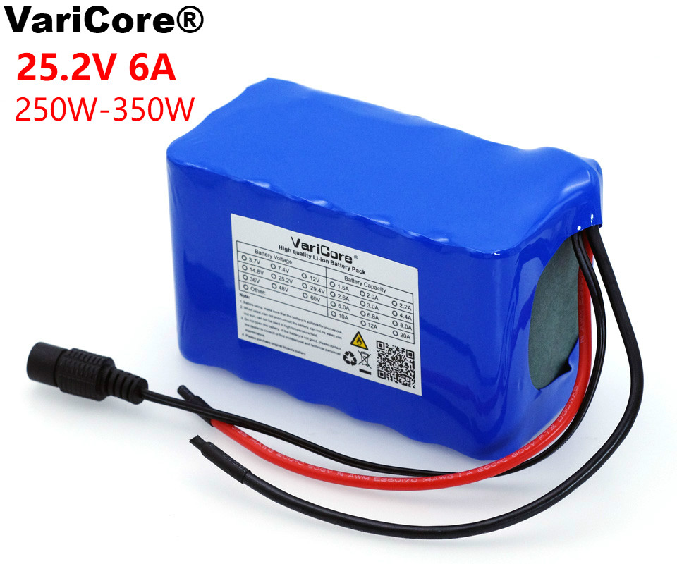 VariCore 24V 6 Ah 6S3P 18650 Battery Lithium Battery 25.2 v 6000mAh Electric Bicycle Moped /Electric/Li ion Battery Pack varicore 24v 6ah 6s3p 18650 battery li ion battery 25 2v bms 6000mah electric bicycle moped electric battery pack 1a charger
