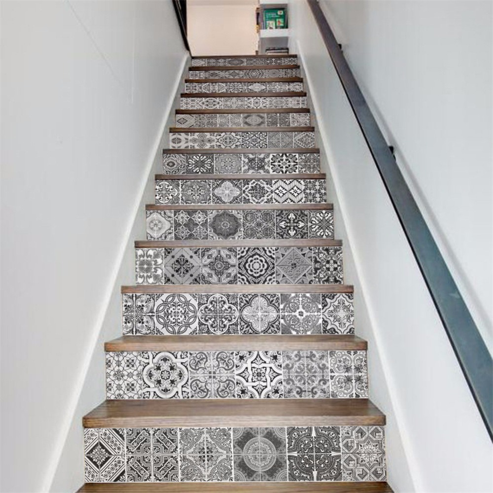 Yanqiao Black and White Ceramic Tiles Stair Sticker Staircase Decor DIY Steps Decal Waterproof Peel and Stick 13Pcs/set