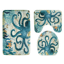 Anti Skid Toilet Mats Washing Room Tools Washable Rug Bathroom Mat 3 Pieces Set Toilet Seat Cover Octopus(China)