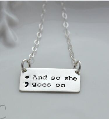 And So She Goes On Semicolon Necklace Silver Plated Semicolon Jewelry Depression Survivor Drop Shipping YLQ0099 ...