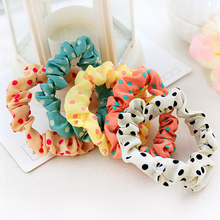 10PC Dot Elastic Hair Bands For Women Scrunchy Nylon Headbands Girls Hair Accessories Hair Ties Ornament Rubber Elastic bands