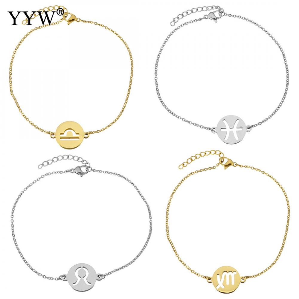 Stainless Steel Jewelry Bracelet 12 Signs Zodiac constellation adjustable & oval chain & different styles Approx 8.5 Inch Strand