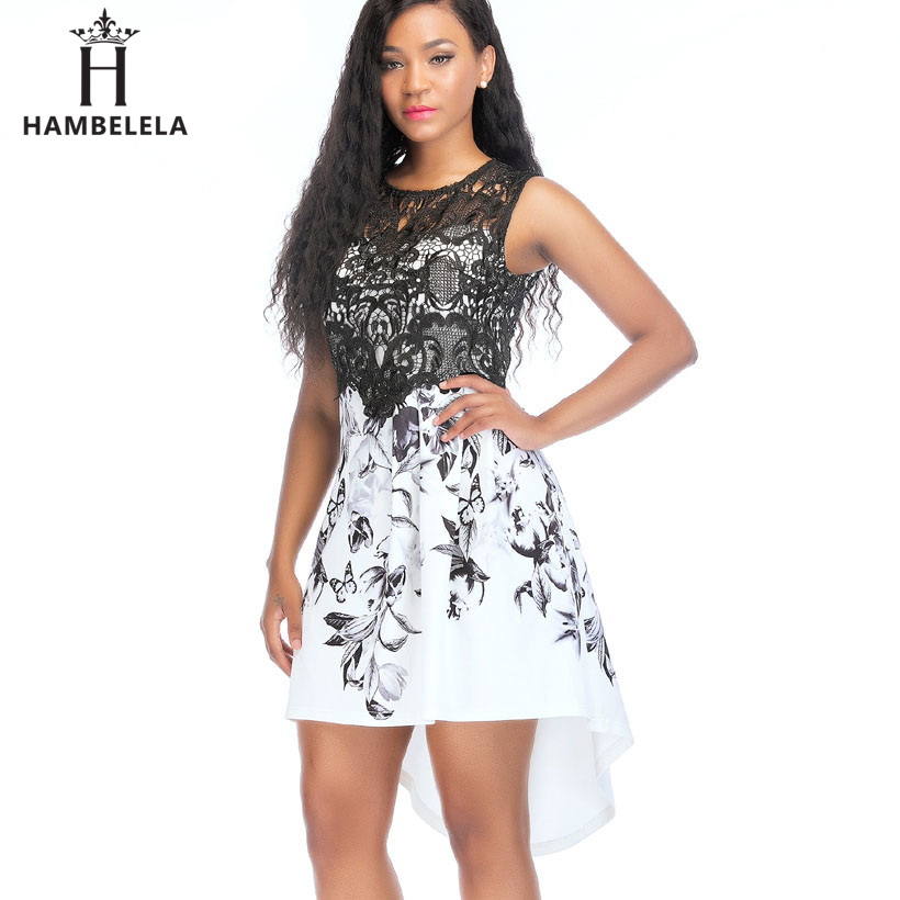 HAMBELELA New 2018 Womens Lace Party Cocktail Mini Dress Ladies Summer Sleeveless Skater Dresses Vintage Sexy Floral Print Dress