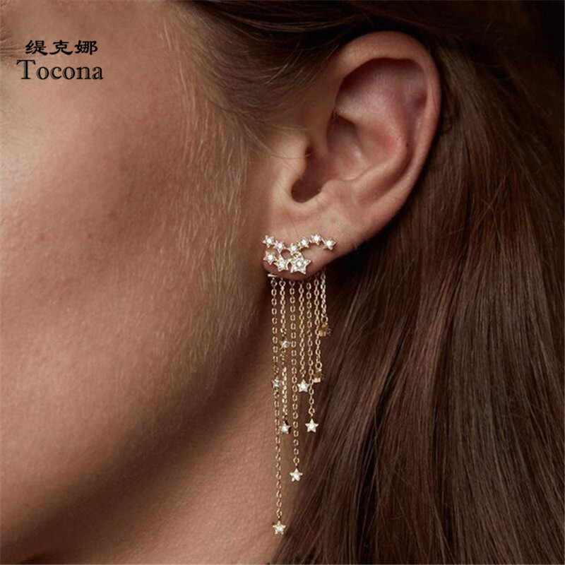 Tocona Bohemian Long Chain Tassel Stat Pendant Drop Dangle Earring for Women Punk Gold Silver Alloy Brincos Fashion Jewelry 6138