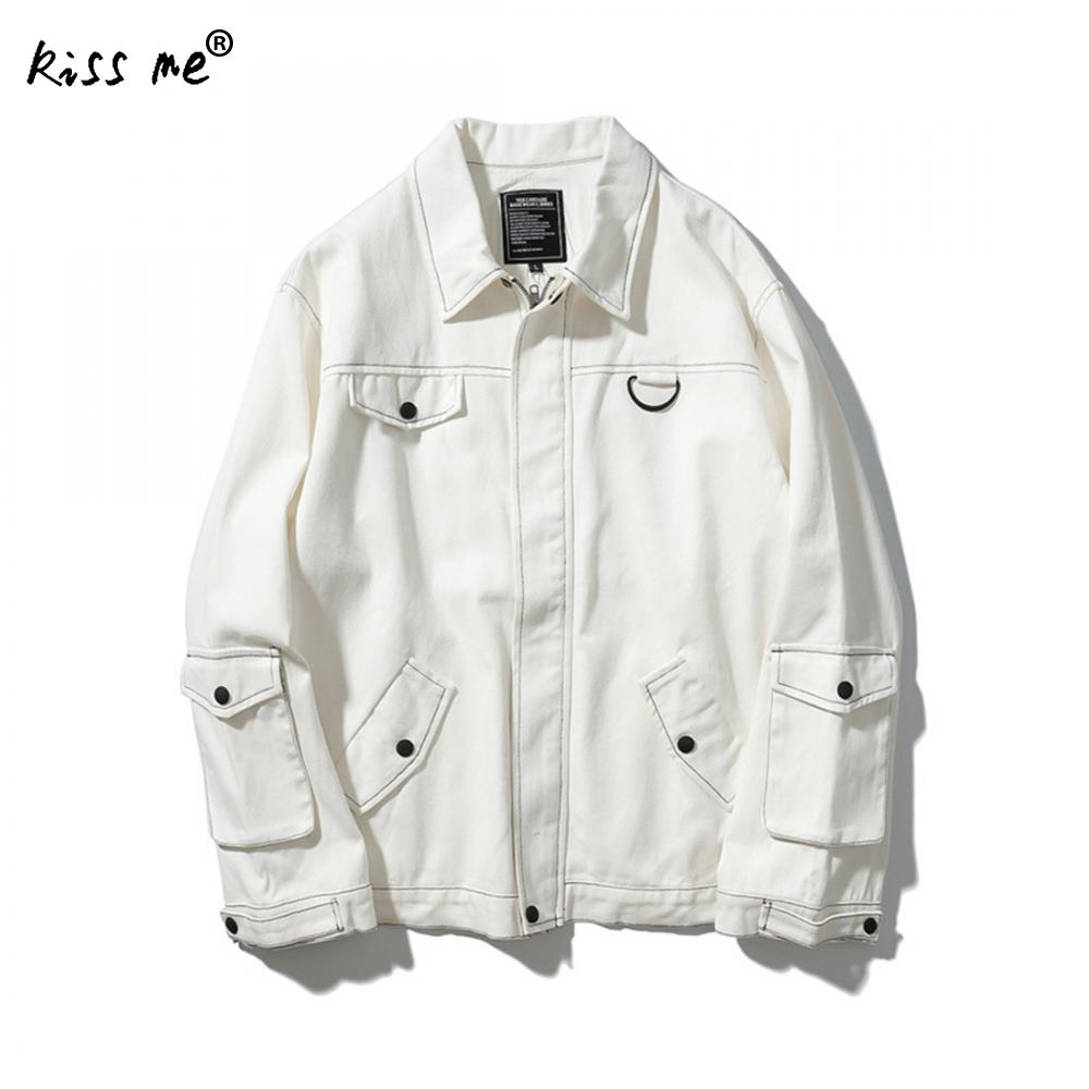 White Denim Jacket Men 2017 New Korean Fashion Mens White Jean Jackets With Flap Pockets Male White Denim Coat
