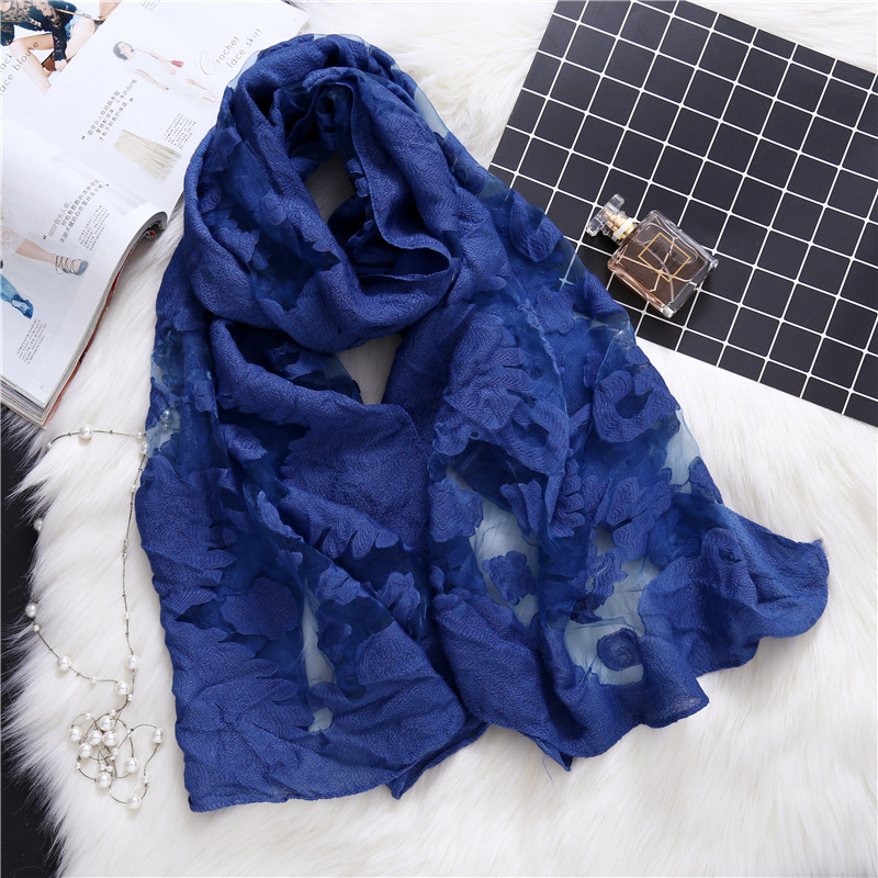 2019 designer brand women   scarf   fashion lace hollow summer shawls and   wraps   lady silk   scarves   beach stoles sunscreen pashmina