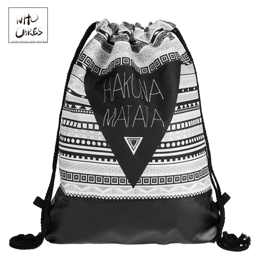 Hakuna Matata Azteca de impresión de cuero inferior mochila mujeres - Mochilas
