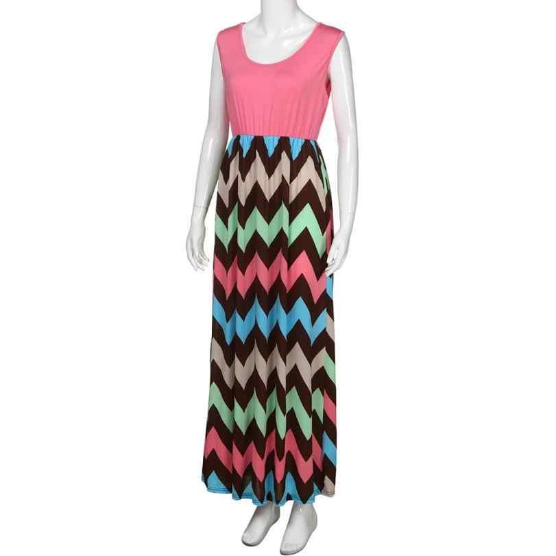 2019 yaz kadın elbise çizgili tasarım uzun Boho elbise bayan kolsuz plaj yaz Sundrss Maxi elbise kadın seksi elbise