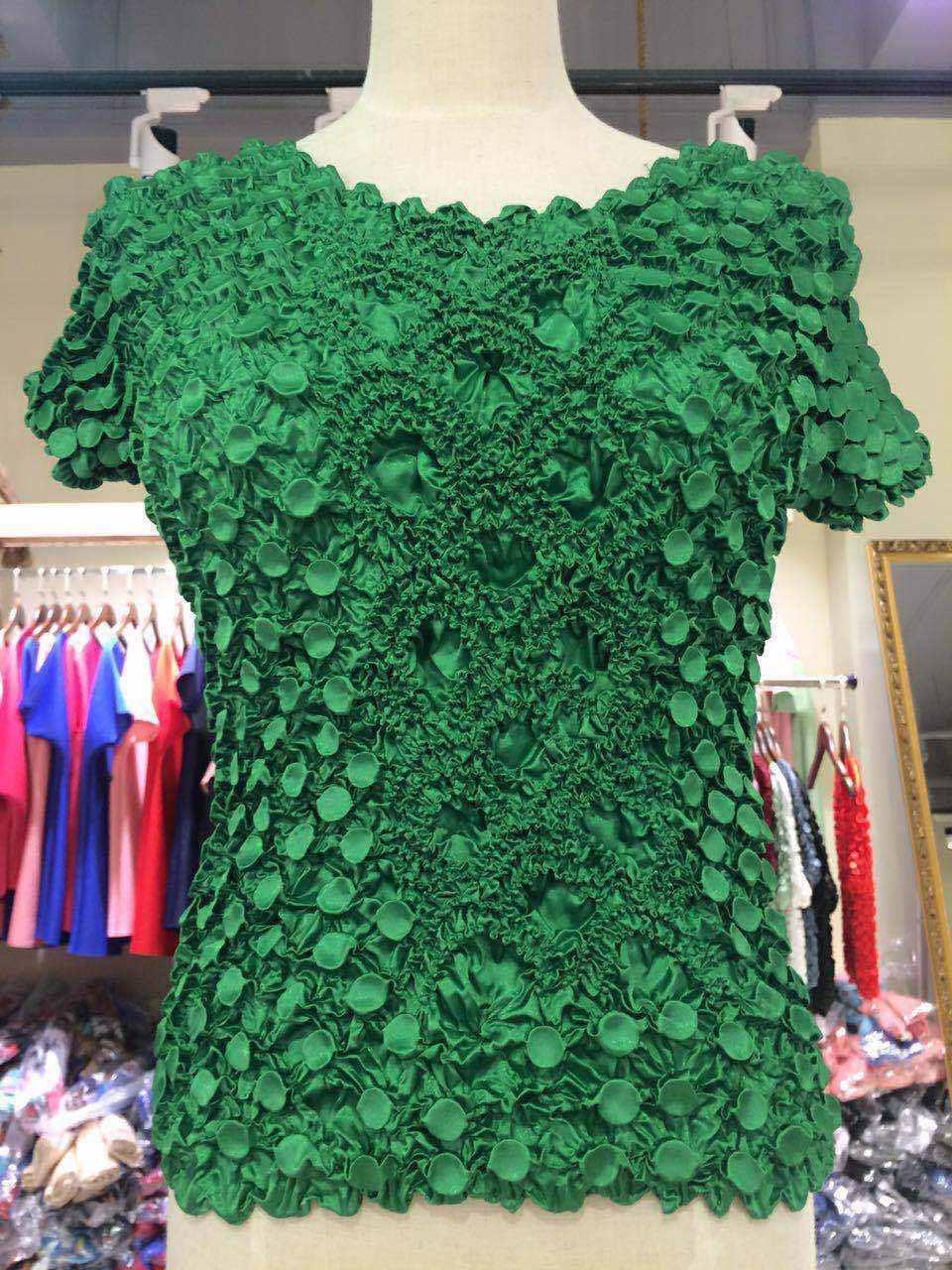 New Women Elastic Popcorn Tops short Sleeves Shirts Coin shirts