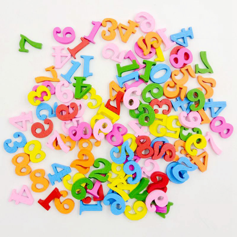 100pcs Wooden Numbers 0 to 9 Number for Kids Math Learning Educational Toys