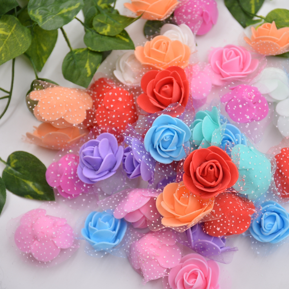 Fake flowers for crafts - 50pcs Lace Mini Foam Rose Handmade Pe Artificial Flowers For Wedding Home Decoration Diy Marriage Flores Rosa Crafts Accessories