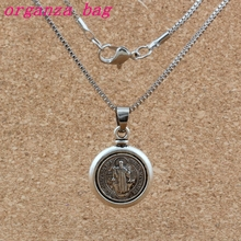 20pcs Saint San Benedetto Medal Cross Religion Charms Pendant Necklaces Ancient silver  DIY 18 inches Chains Clavicle necklace