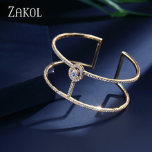 ZAKOL New Arrival Exquisite Micro Pave Zirconia Setting Cuff Bracelets Bangle Fashion Women Jewelry Bijoux FSBP2010