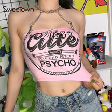 Sweetown Punk Gothic Metal Chain Halter Tank Top Vrouwelijke Roze Brief Gedrukt Leuke Crop Top Shirt Hot Summer Holiday Streetwear
