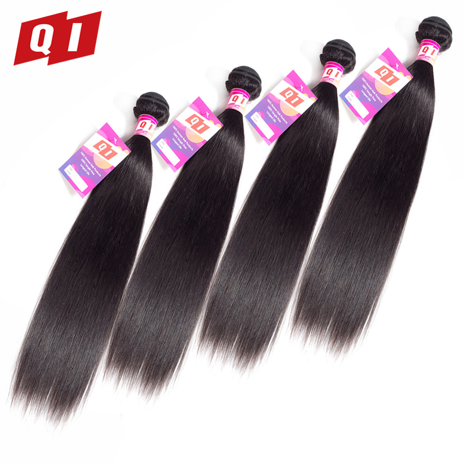 QI Hair Straight Indian Hair Weave 4 Bundles 100% Human Hair Natural Color Hair Extensions Non Remy 8-26 Inches Free Shipping